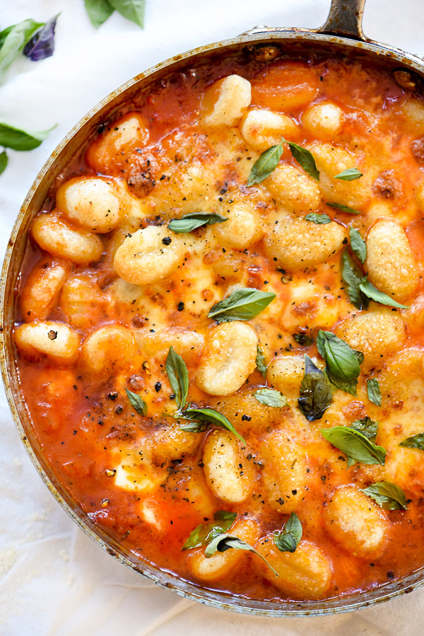 Gnocchi With Pomodoro Sauce | foodiecrush.com #recipes #sauce #mozzarella