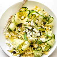 Zucchini and Fresh Corn Farmers' Market Salad with Lemon-Basil Vinaigrette on foodiecrush.com
