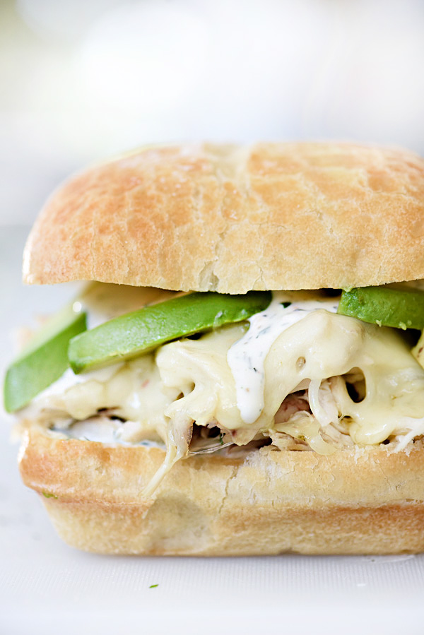 Shredded Chicken Sandwich with Ranch Sauce