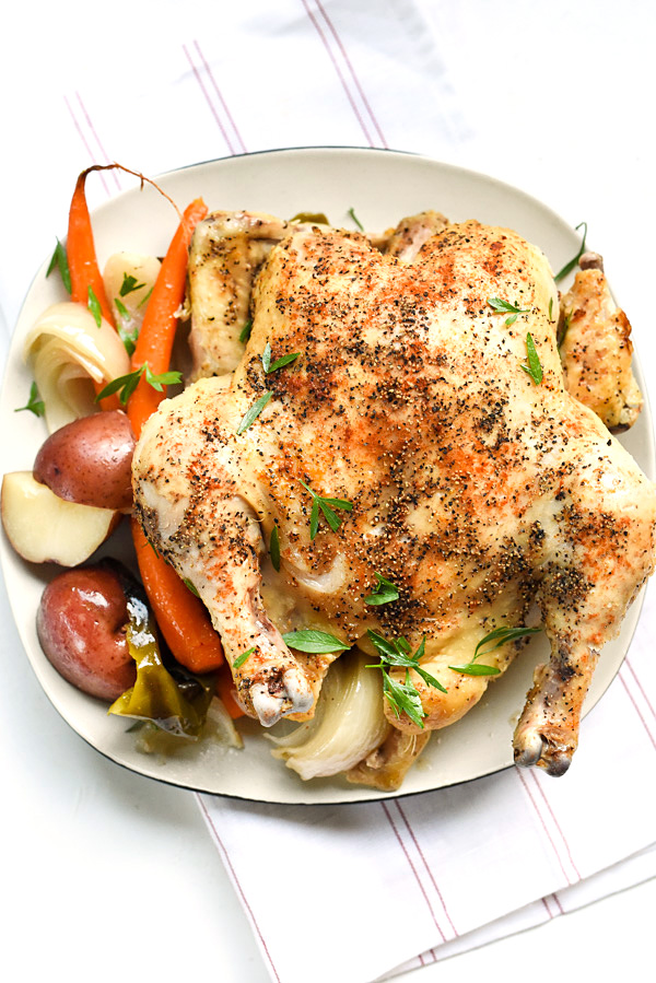 Crockpot Whole Chicken | foodiecrush.com #recipes #easy #andpotatoes #crockpots #withvegetables #healthy