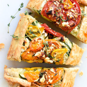 Heirloom Tomato, Zucchini, Caramelized Onion and Feta Galette | foodiecrush.com