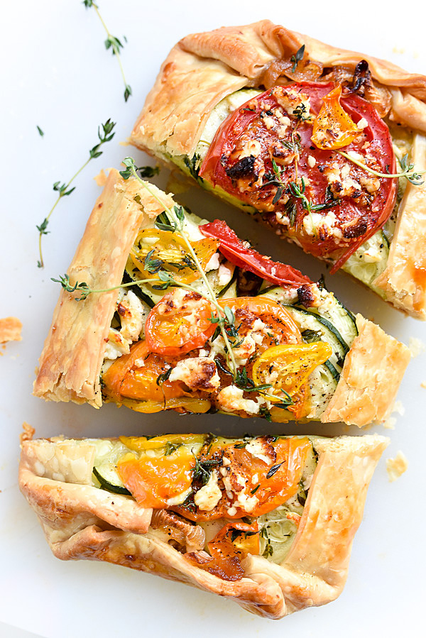 Heirloom Tomato, Zucchini, Caramelized Onion and Feta Galette | foodiecrush.com #summer #heirloom #recipe #piecrusts #cheese