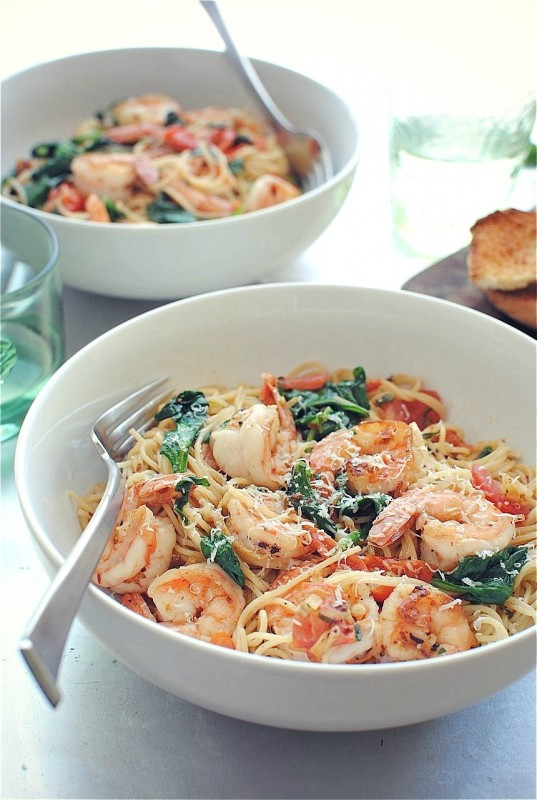 Shrimp Pasta with Tomatoes, Lemon and Spinach, bevcooks.com