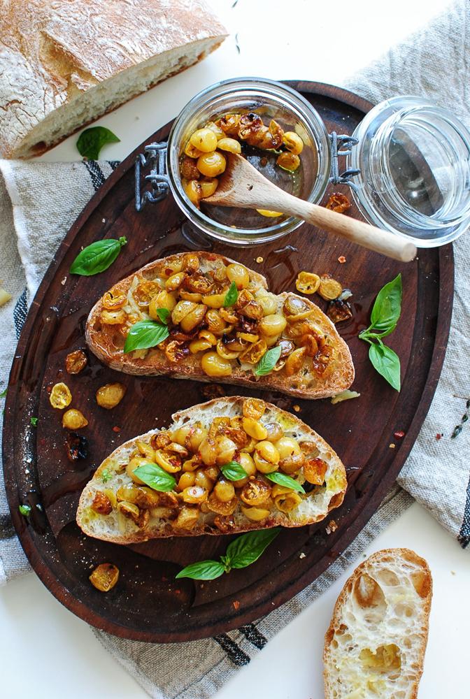 Slow Roasted Golden Tomato Bruschetta, bevcooks.com