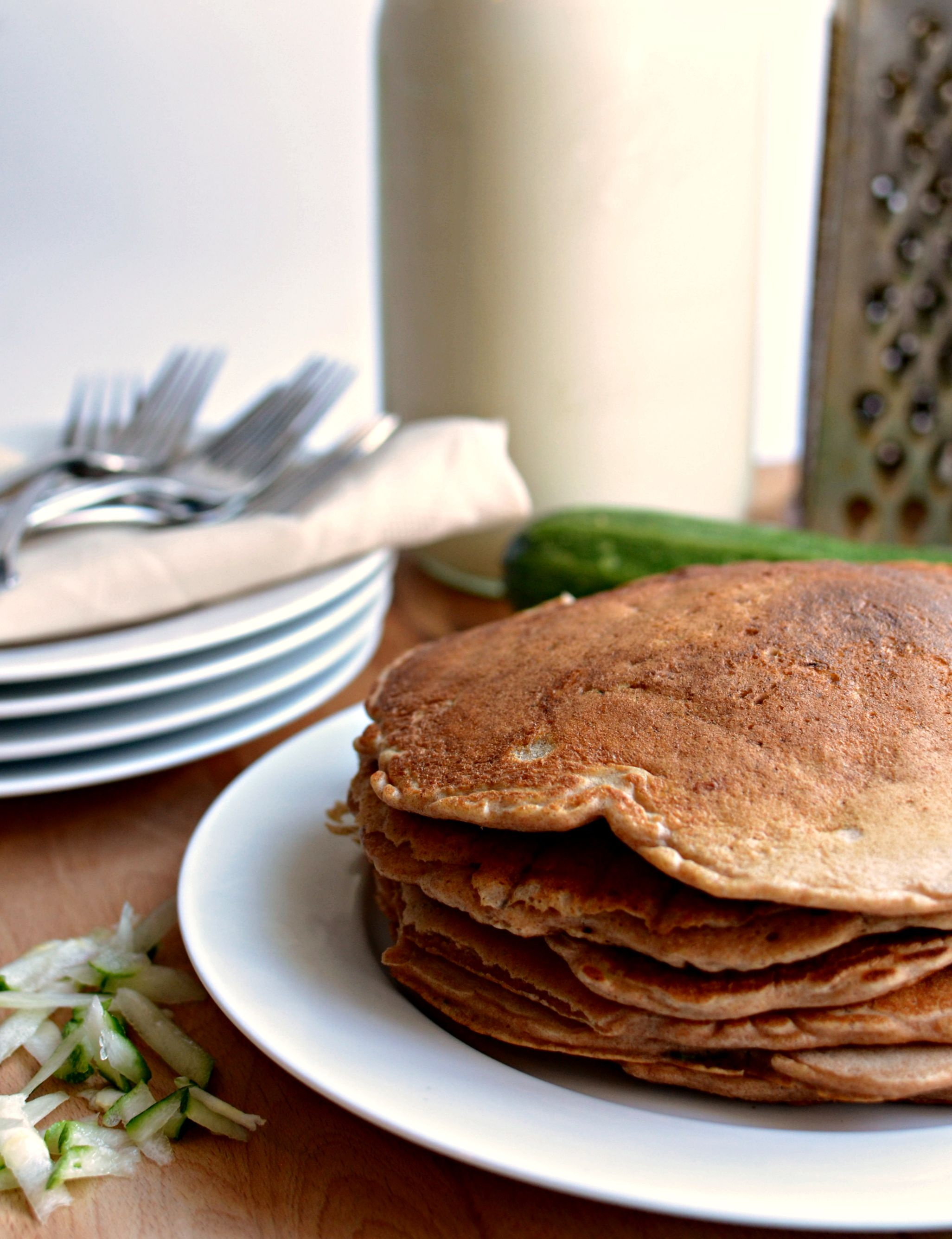 Healthy Whole Grain Zucchini Bread Pancakes by Bless This Mess | foodiecrush.com