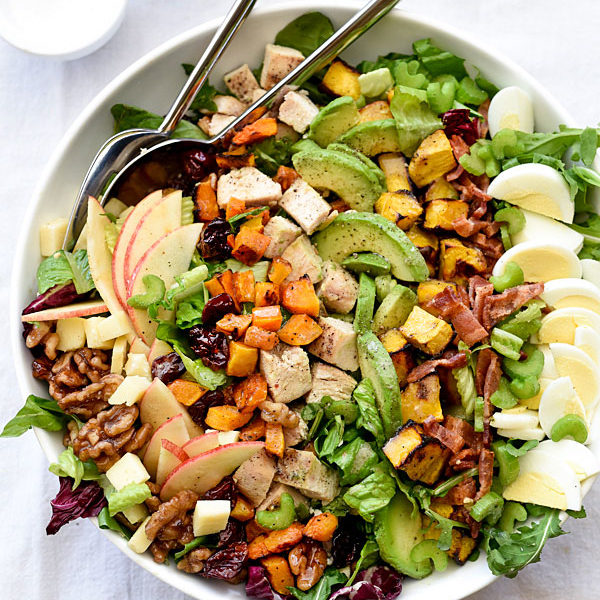 Fall flavors meet Cobb salad with candied walnuts and bacon #salad #squash #bacon #recipe #avocado