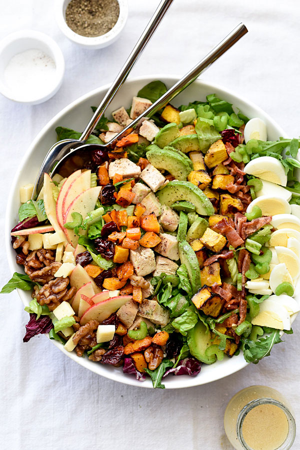 Autumn Cobb Salad | foodiecrush.com #recipes #dressing #apples #easy #healthy #butternutsquash #chicken #harvest