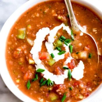 Traditional Gazpacho Recipe foodiecrush.com