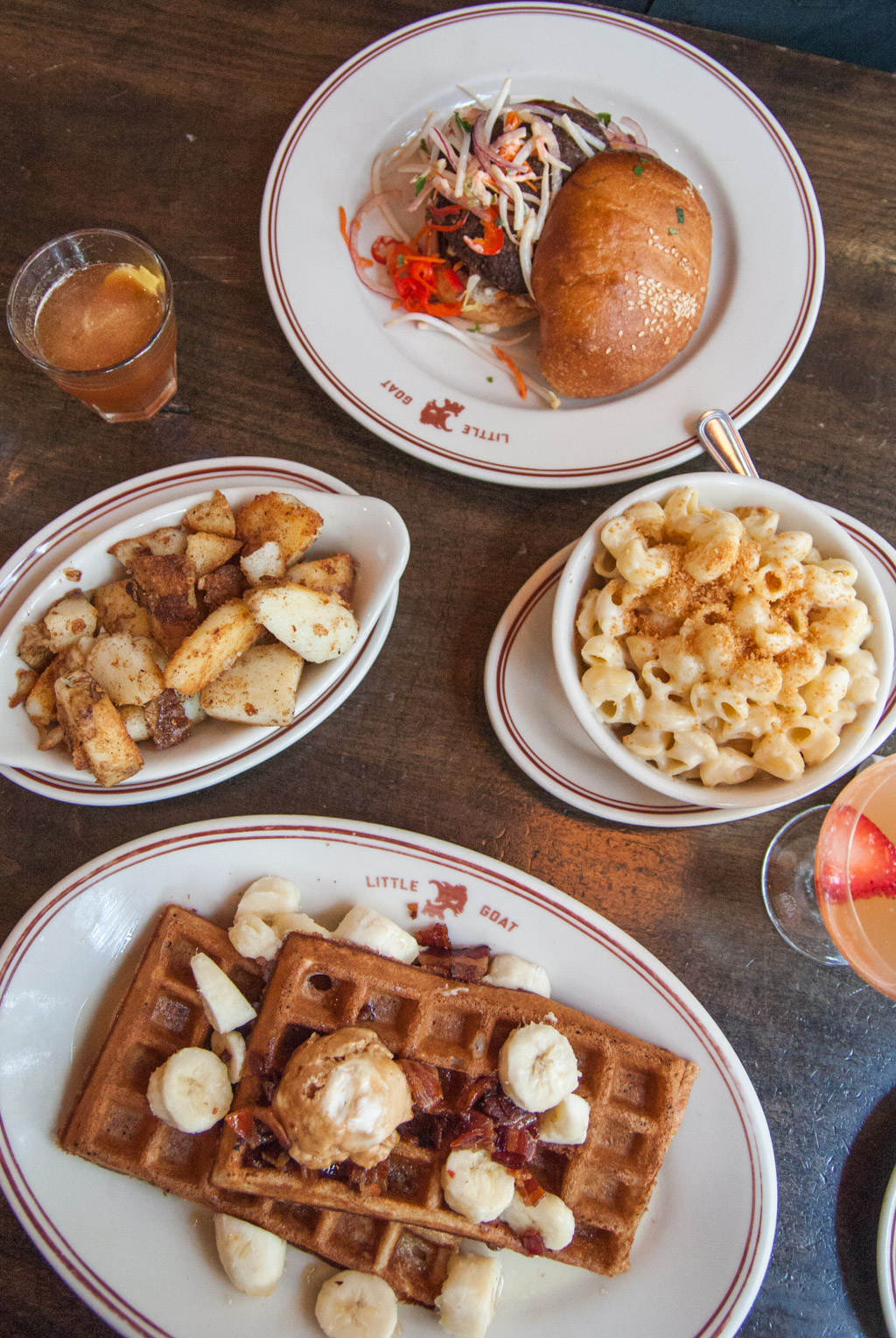 Fat Elvis Pancakes and Goat Burger with Sides, at Little Goat Diner, Chicago