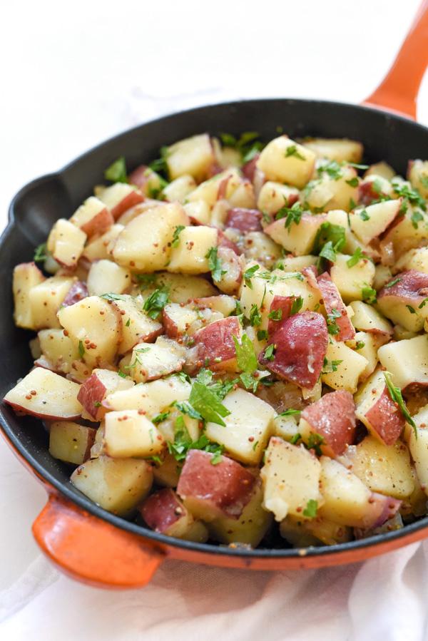 vinegar potato salad in skillet