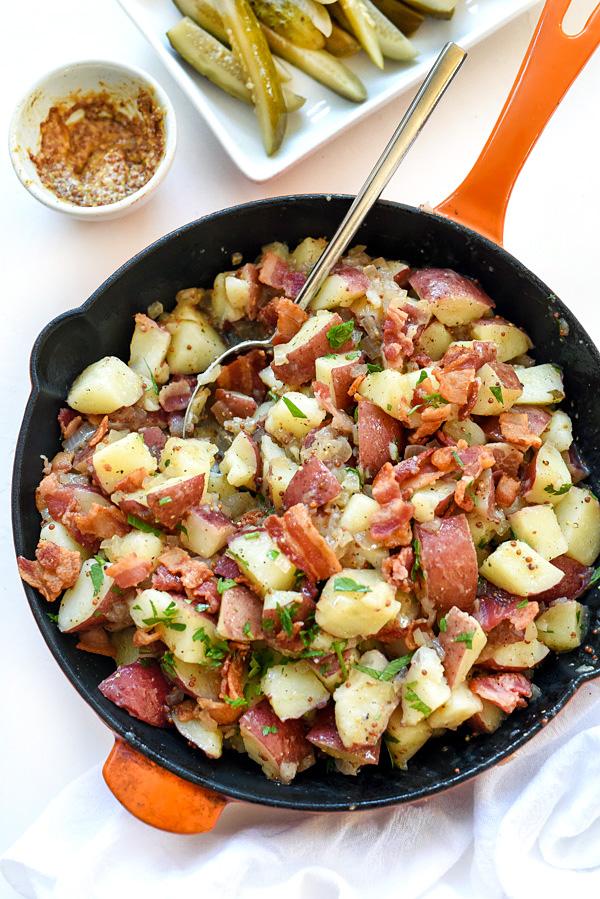 hot german potato salad in skillet