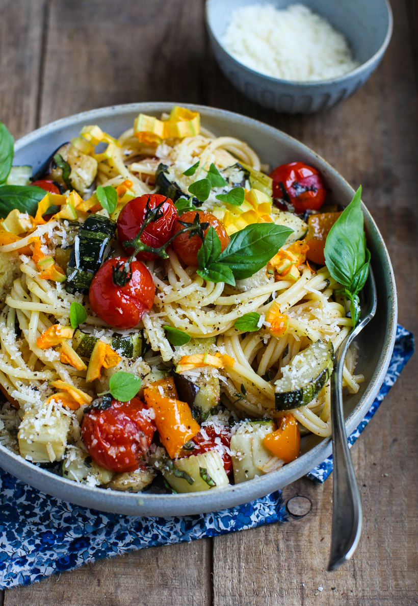 Easy Roasted Vegetable Spaghetti by Simple Bites | foodiecrush.com