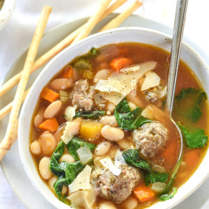 Slow Cooker Tuscan White Bean Soup   foodiecrush.com