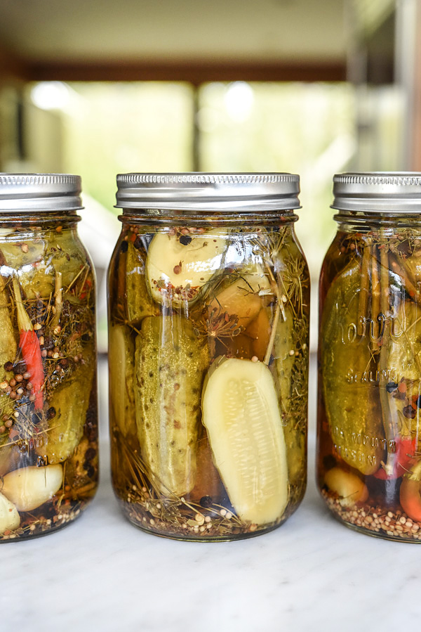 Killer Spicy Garlic Dill Pickles | foodiecrush.com #canning #recipe #spicy #homemade