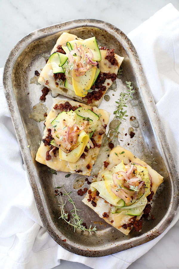 Summer Squash and Chorizo Cheese Toasts | foodiecrush.com