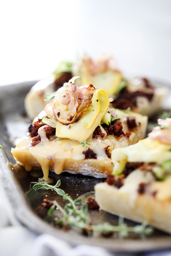 Zucchini and Chorizo Cheese Toast | foodiecrush.com #inoven #easy #recipe #simple