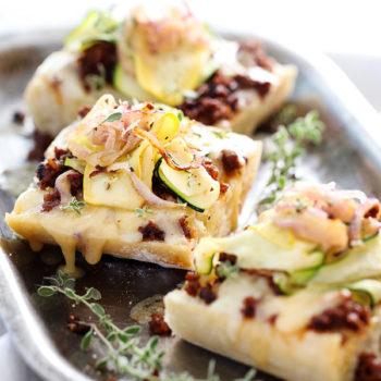 Summer Squash and Chorizo Cheese Toasts | foodiecrush.com