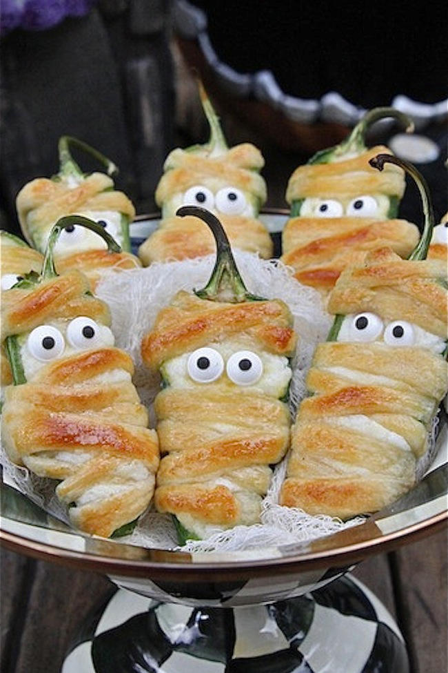 Halloweeño Jalapeño Mummy Poppers from the Hopeless Housewife on foodiecrush.com