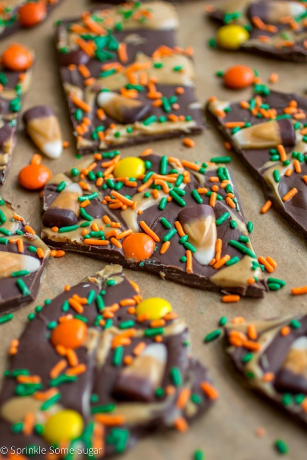 Peanut Butter Candy Corn Bark from Chocolate Chocolate and More on foodiecrush.com