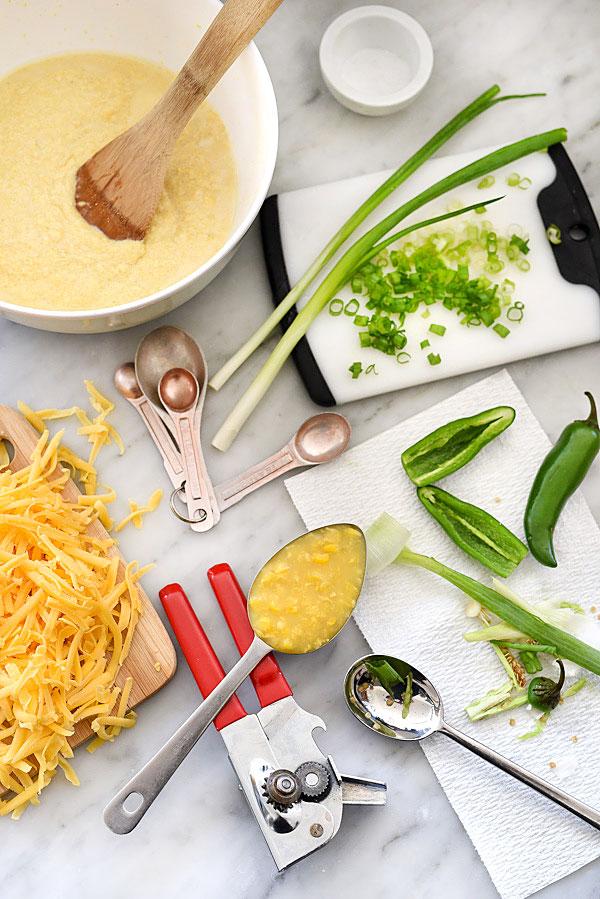 jalapeno cornbread ingredients on marble countertop