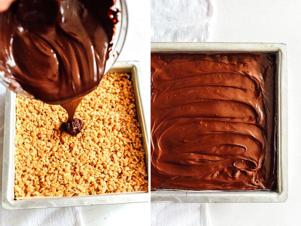 Salted Chocolate Peanut Butter Krispie Treats are a super easy dessert   foodiecrush.com