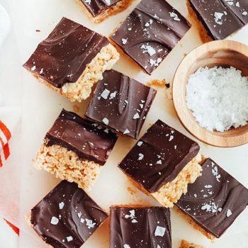 Salted Chocolate Peanut Butter Krispie Treats are a super easy dessert | foodiecrush.com