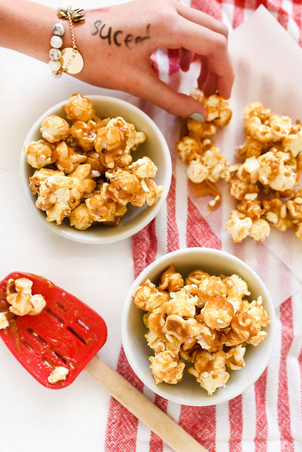 The Best Chewy Caramel Corn | foodiecrush.com #easy #recipe #homemade