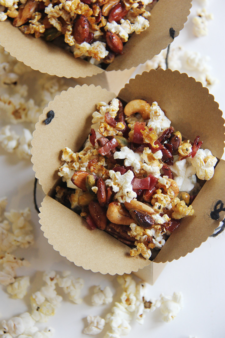 Bacon and Mixed Nuts Caramel Corn from Brunch With Joy on foodiecrush.com