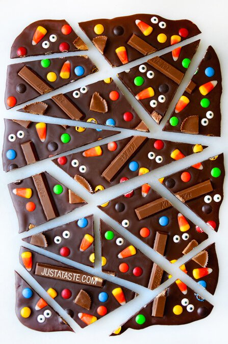 Halloween Candy Bark from Just a Taste on foodiecrush.com