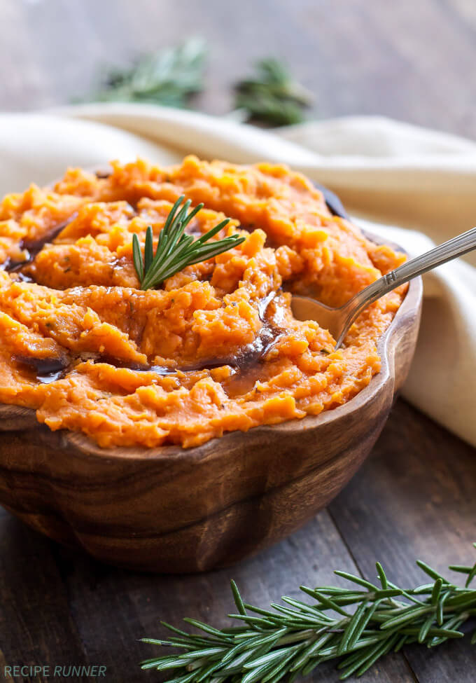 Brown Butter and Rosemary Mashed Sweet Potatoes from A Spoonful of Flavor on foodiecrush.com
