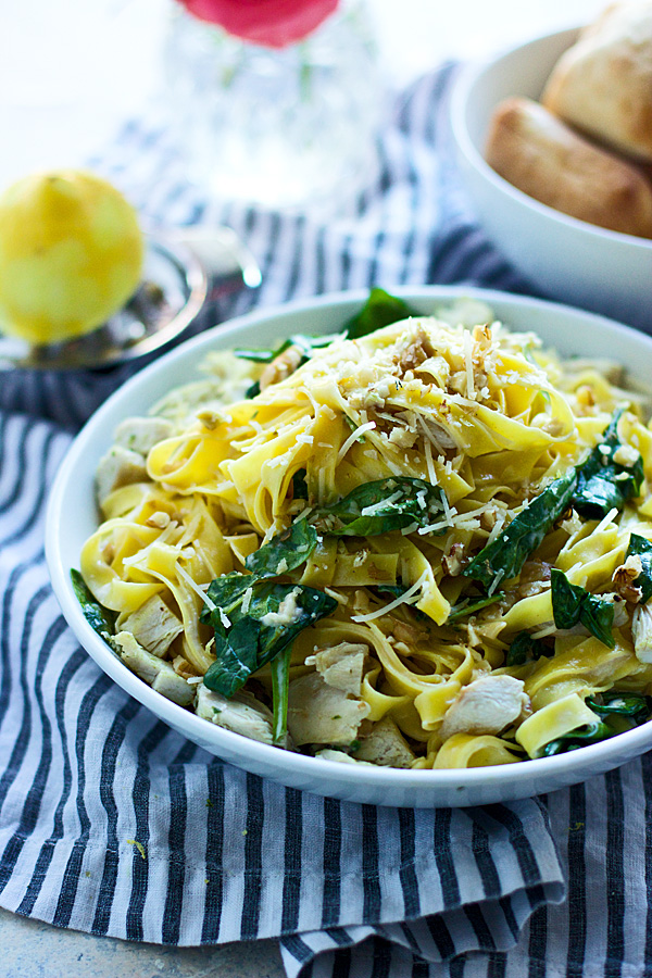 Creamy Lemon and Leftover Turkey Tagliatelle from Cooking for Keeps on foodiecrush.com