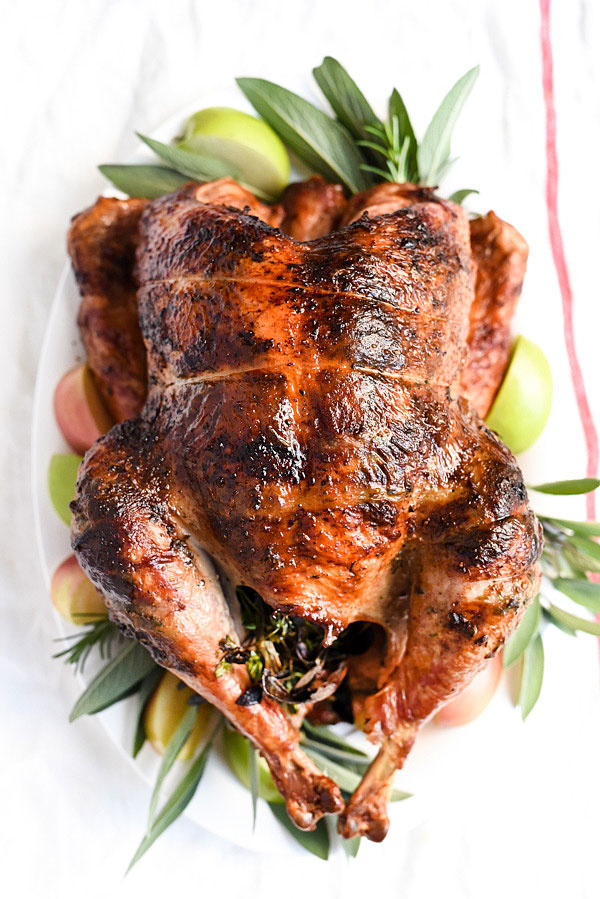 rotisserie Herb Butter Turkey on white platter