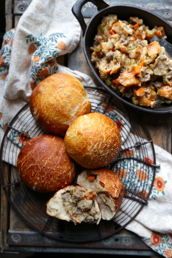Sausage Sour Dough Stuffing Filled Pretzel Rolls from Wanna Be a Country Cleaver on foodiecrush.com