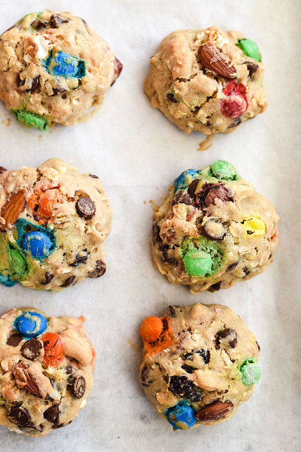 Loaded Monster Cookies | foodiecrush.com #recipe #healthy #soft #easy #Halloween
