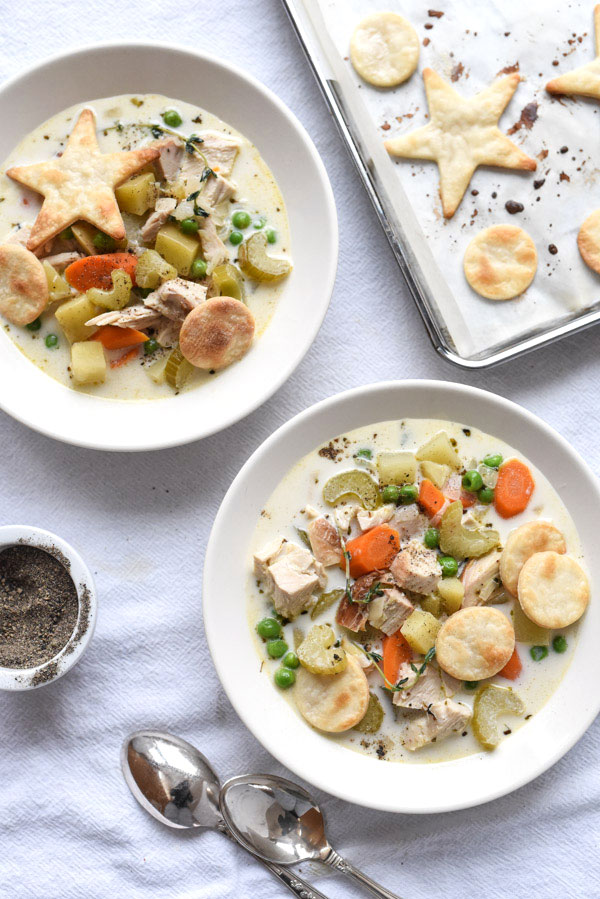 Turkey Pot Pie Soup is one of my favorite and easy recipes to use up leftover turkey | foodiecrush.com