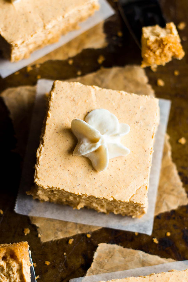 Skinny Pumpkin Cheesecake Bars by Amy's Healthy Baking | foodiecrush.com
