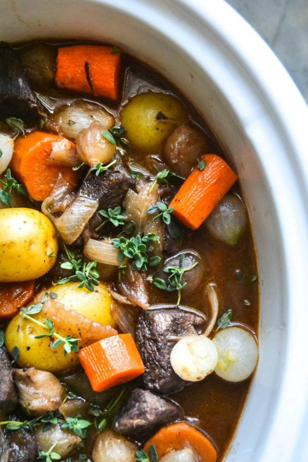 Slow Cooker/Crock Pot Beef Bourguignon from theviewfromgreatisland.com on foodiecrush.com