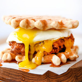 Chicken and Waffles Sliders Plus 4 Spicy Dipping Sauces | foodiecrush.com