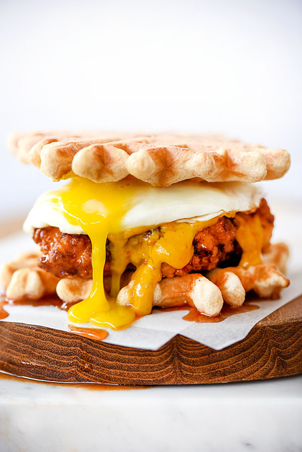 Chicken and Waffles Sliders Plus 4 Spicy Dipping Sauces | foodiecrush.com #recipe #southern #sliders #appetizer #sauce