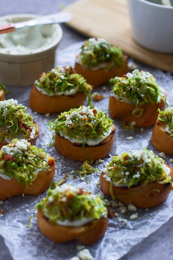 Five Ingredient Brussels Sprout and Bacon Crostini with Whipped Blue Cheese from Cooking for Keeps on foodiecrush.com