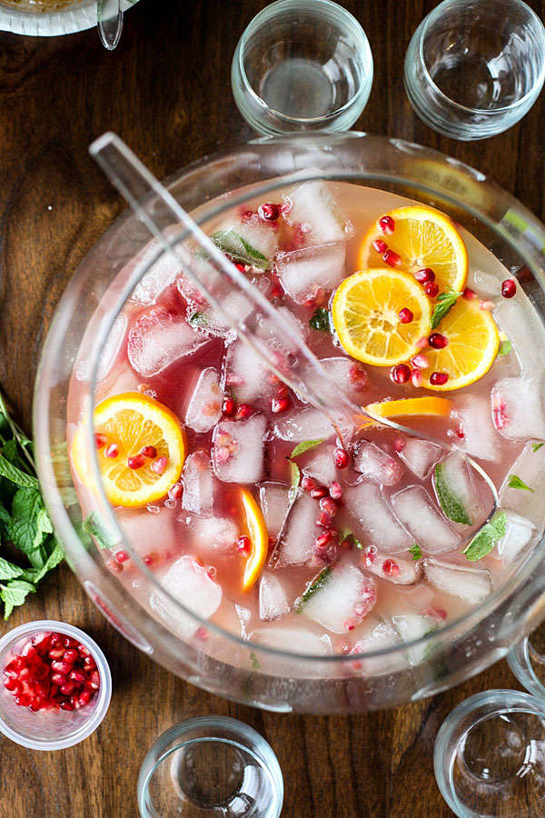Pomegranate and Orange Champagne Punch | foodiecrush.com #recipes #easy #Christmas #foracrowd
