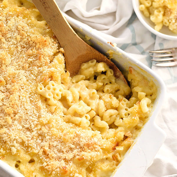The Best Homemade Mac and Cheese uses 2 soft white cheeses making it extra creamy with a crunchy breadcrumb topping | foodiecrush.com