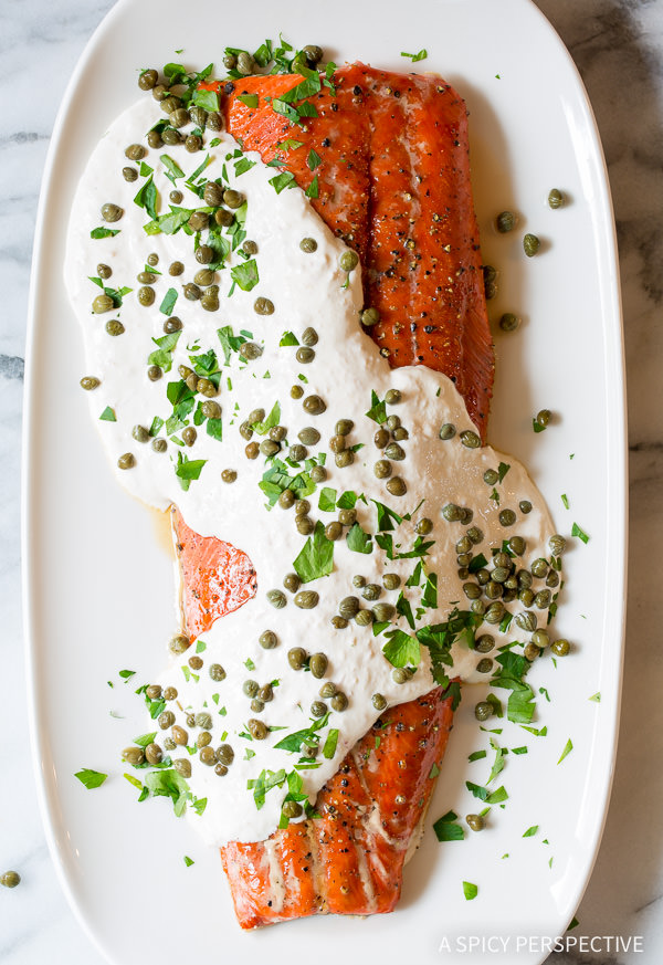 Smoky Oven Baked Salmon With Horseradish Sauce from A Spicy Perspective on foodiecrush.com