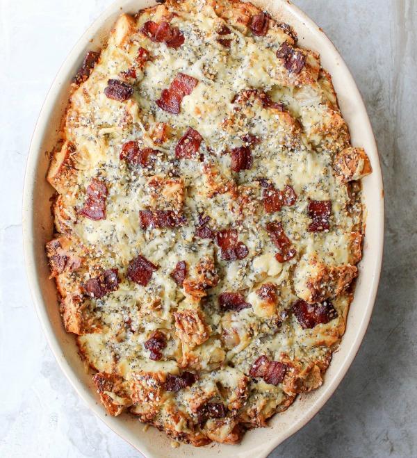 Everything Bagel Breakfast Strata from yestoyolks.com on foodiecrush.com