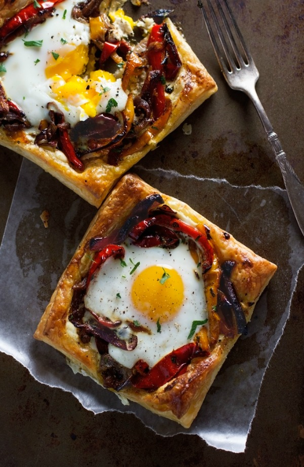 Roasted Red Pepper & Baked Egg Galettes from littlespicejar.com on foodiecrush.com