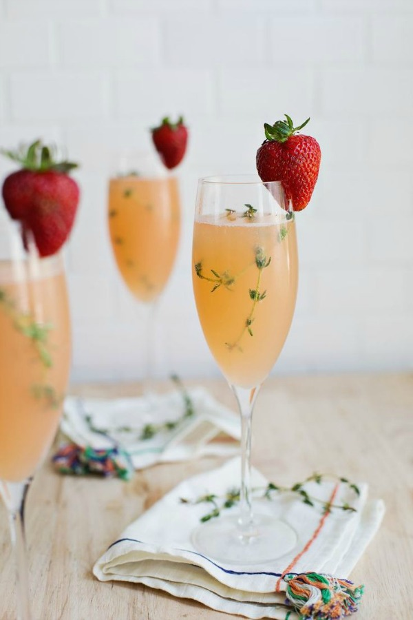 Strawberry Grapefruit Mimosa from abeautifulmess.com on foodiecrush.com
