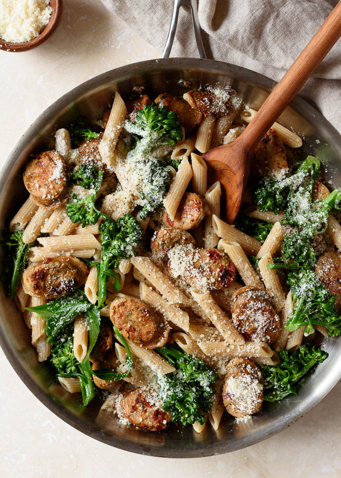 Whole Grain Pasta with Broccoli and Chicken Sausage from Fork Knife Swoon on foodiecrush.com