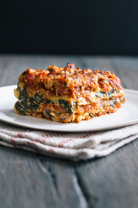 Spinach Turkey Lasagna from The Yellow Table on foodiecrush.com