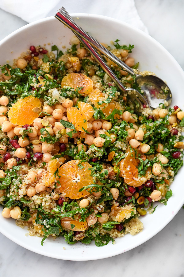 Quinoa and Kale Protein Salad | foodiecrush.com #quinoa #kale #healthylunches #dinners #recipe #protein
