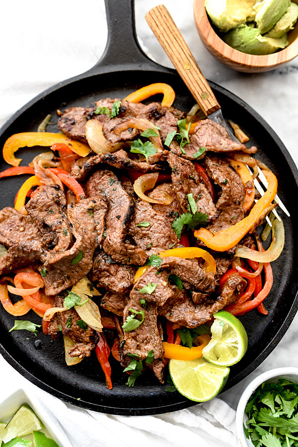 The Best Steak Fajitas in cast iron skillet